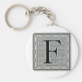 """Block Letter """"F"""" Woodcut Woodblock Inital Key Ring"""