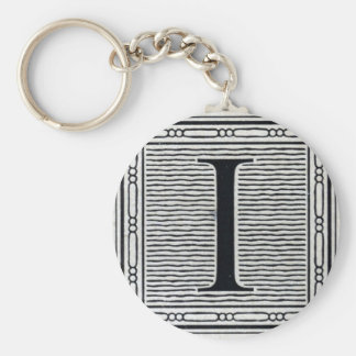 "Block Letter ""I"" Woodcut Woodblock Inital Key Ring"