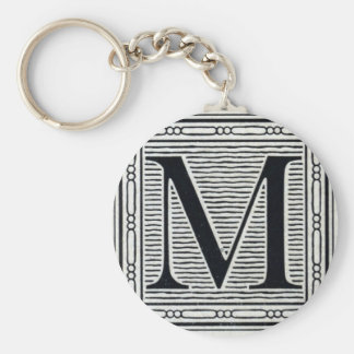 "Block Letter ""M"" Woodcut Woodblock Inital Key Ring"