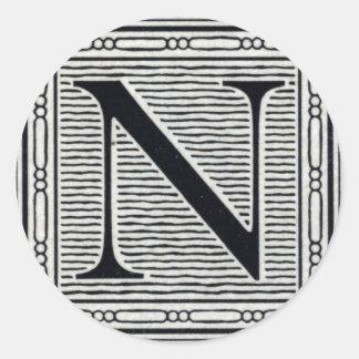 "Block Letter ""N"" Woodcut Woodblock Inital Round Sticker"