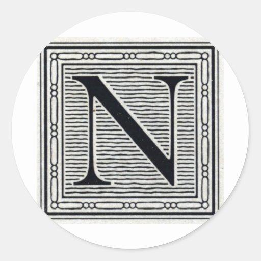 "Block Letter ""N"" Woodcut Woodblock Inital Sticker"