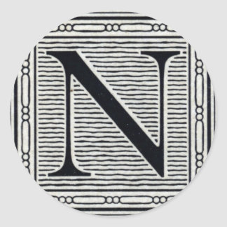 "Block Letter ""N"" Woodcut Woodblock Inital Stickers"