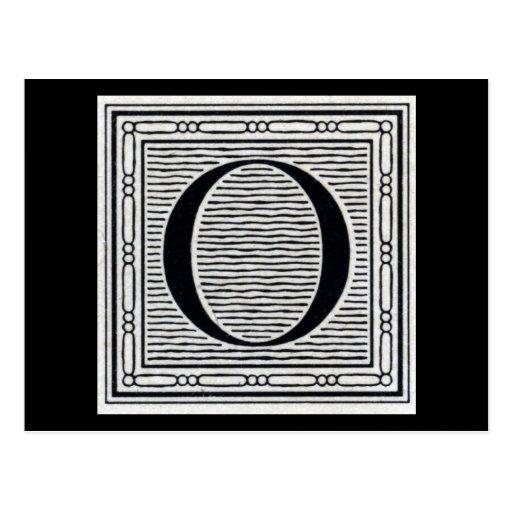 """Block Letter """"O"""" Woodcut Woodblock Inital"""