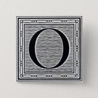 "Block Letter ""O"" Woodcut Woodblock Inital 15 Cm Square Badge"