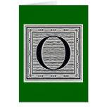 """Block Letter """"O"""" Woodcut Woodblock Inital Greeting Card"""