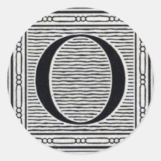 "Block Letter ""O"" Woodcut Woodblock Inital Classic Round Sticker"