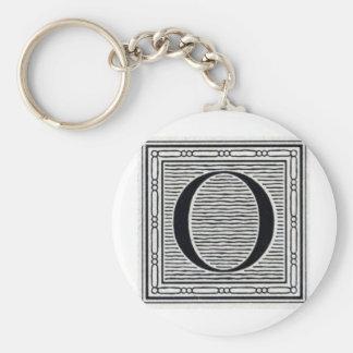 """Block Letter """"O"""" Woodcut Woodblock Inital Key Ring"""