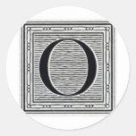 """Block Letter """"O"""" Woodcut Woodblock Inital Stickers"""