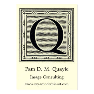 """Block Letter """"Q"""" Woodcut Woodblock Initial Pack Of Chubby Business Cards"""