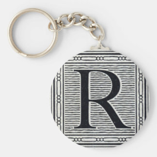 "Block Letter ""R"" Woodcut Woodblock Inital Basic Round Button Key Ring"