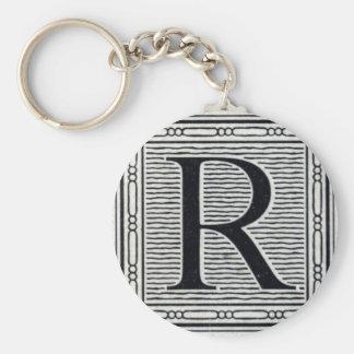 "Block Letter ""R"" Woodcut Woodblock Inital Basic Round Button Key Ring"