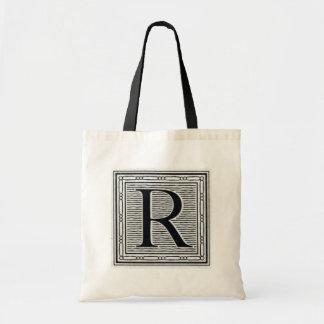 """Block Letter """"R"""" Woodcut Woodblock Inital Tote Bag"""