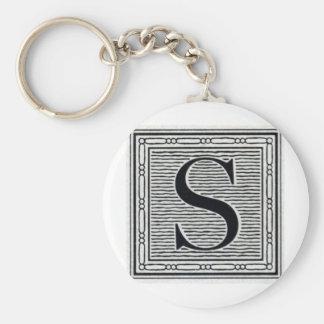 """Block Letter """"S"""" Woodcut Woodblock Inital Key Ring"""