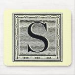 """Block Letter """"S"""" Woodcut Woodblock Inital Mousepad"""