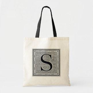 """Block Letter """"S"""" Woodcut Woodblock Inital Tote Bag"""
