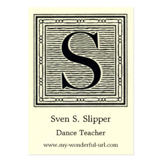 """Block Letter """"S"""" Woodcut Woodblock Initial Pack Of Chubby Business Cards"""