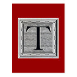 """Block Letter """"T"""" Woodcut Woodblock Inital"""