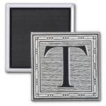 """Block Letter """"T"""" Woodcut Woodblock Inital Fridge Magnet"""
