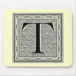 """Block Letter """"T"""" Woodcut Woodblock Inital Mousemats"""