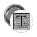 """Block Letter """"T"""" Woodcut Woodblock Inital Pins"""