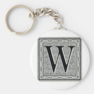"Block Letter ""W"" Woodcut Woodblock Inital Key Ring"