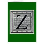 """Block Letter """"Z"""" Woodcut Woodblock Inital Greeting Card"""