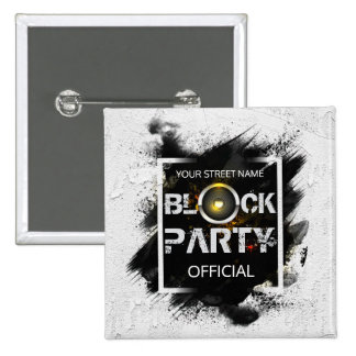 Block Party custom invitation 15 Cm Square Badge