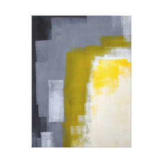 'Block Party' Grey and Yellow Abstract Art Print Canvas Prints