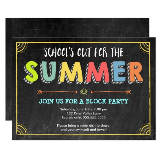 Block Party Summer Invitation-School's Out Card