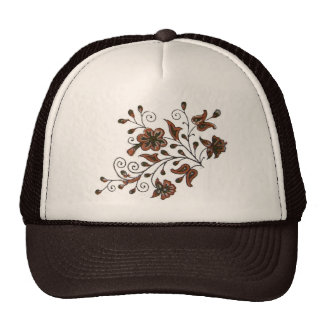 Block print flower motif hats