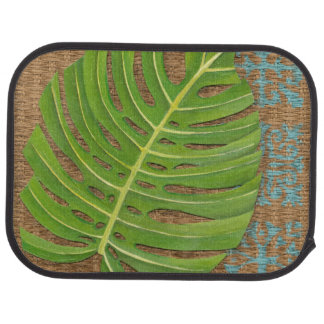 Block Print Palm on Wicker Background Car Mat