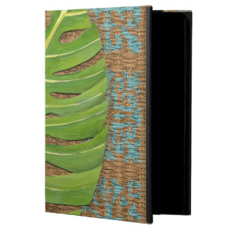 Block Print Palm on Wicker Background Case For iPad Air
