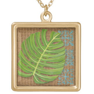 Block Print Palm on Wicker Background Gold Plated Necklace
