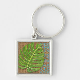 Block Print Palm on Wicker Background Key Ring