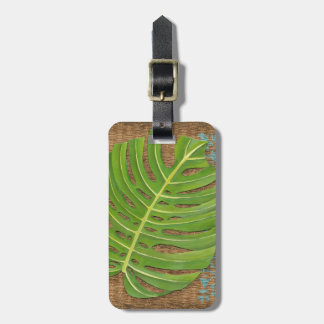 Block Print Palm on Wicker Background Luggage Tag