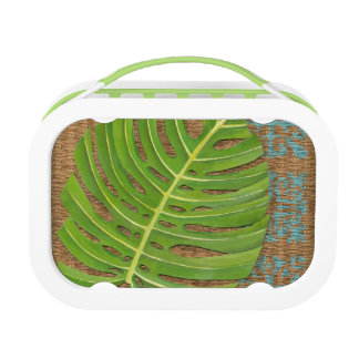 Block Print Palm on Wicker Background Lunch Box