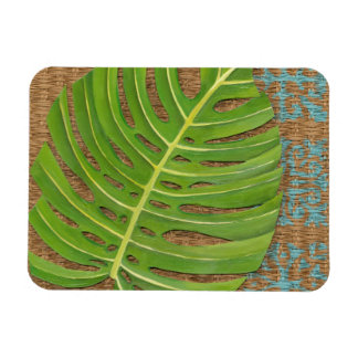 Block Print Palm on Wicker Background Rectangular Photo Magnet