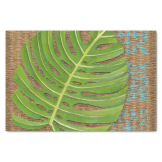 Block Print Palm on Wicker Background Tissue Paper