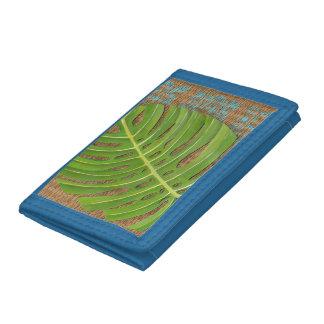 Block Print Palm on Wicker Background Tri-fold Wallet