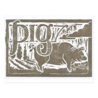 Block Print Pig Postcards