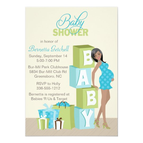 Blocks Baby Shower Invitation African American Boy