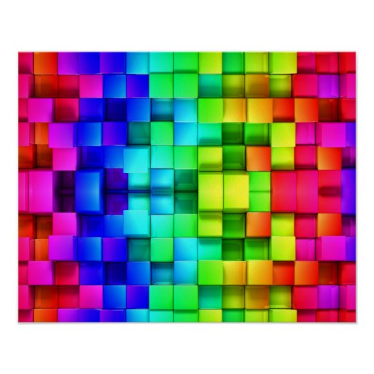 Blocks Rainbow 3d Graphics Background Poster
