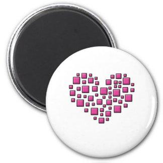 Blocky Heart 6 Cm Round Magnet