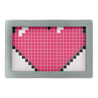 Blocky Pink Heart Belt Buckles