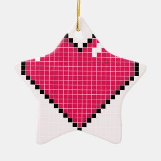Blocky Pink Heart Ceramic Star Decoration