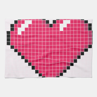Blocky Pink Heart Tea Towel