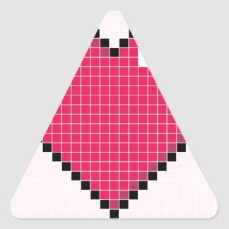 Blocky Pink Heart Triangle Sticker