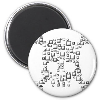 Blocky Skull 6 Cm Round Magnet