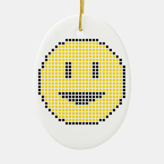 Blocky Smiley Face Ceramic Oval Decoration