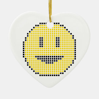 Blocky Smiley Face Christmas Ornament
